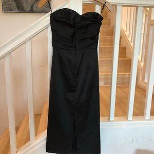 ASOS black satin strapless dress 6